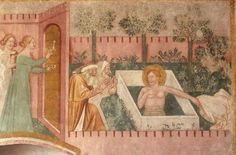 Fresco in the The Duomo of Spilimbergo, Ottakring, Austria - Susanna and the Elders (13th-14th century)
