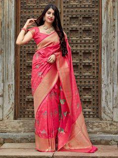 Pink Colour Woven Banarasi Silk Saree With Blouse Banarasi Sarees, Silk Sarees, Saris, Beautiful Girl Indian, Beautiful Saree, Saree Wedding, Bridal Sarees, Indian Crossdresser, Kerala Bride