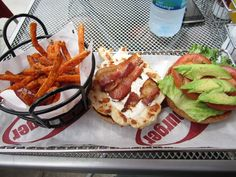 bacon/chicken/avocado burger with sweet potato fries from smashburger. had it for the first time today and it's yummy!