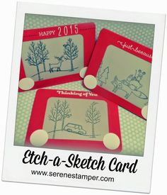 Etch-a-Sketch Card using Stampin Up stamp sets