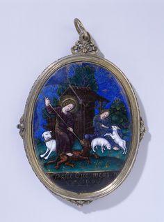 Handspiegel, ovaal, versierd met émail met voorstelling van Christus als de Goede Herder., Jean Limosin, ca. 1600 - ca. 1650