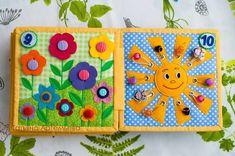 Последние страницы книжечки Счет. Цифра 9 - цветочная полянка. 4 цветочка съемные, пристегиваются на пуговицы, остальные пришиты. Считаем цветочки, листочки и пуговки. Цифра 10 - солнышко с десятью лучиками. На лучах любимая детками игра - перетяжки.