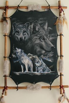 Indian Picture Wolf Dream Catcher Leather Mandella  22 x16 beads feathers Framed #Indian