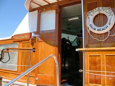 """handsome wood paneling and chrome details on the """"Trianon"""" a Trumpy yacht"""