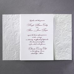 Lacy Opulence - Invitation by Carlson Craft Opulence defined. Shimmering embossed paper, sheer ribbon and a printed card hidden inside create a lace wedding invitation that's the ultimate in elegance. Discount Wedding Invitations, Classy Wedding Invitations, Wedding Stationary, Invites, Personalized Napkins, Personalized Invitations, 7th Wedding Anniversary, Fine Stationery, Wedding Expenses