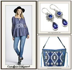 COWGIRL GYPSY EARRINGS Blue Sapphire Gemstone Long Earrings/ Aztec Tassel Denim Handbag/ Blue Lace Cutout on or Off the Shoulder Top  #blue #sapphire #silver #jewelry #sterlingsilver #navy #gemstone #earrings #long #top #blouse #shirt #boho #cowgirl #bohochic #offtheshoulder #longsleeve #designer #Umgee #wholesale #bag #purse #handbag #womens #clothing #boutique #handmade #onlineshopping #aztec #tribal