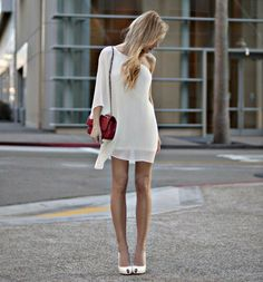 Little White Dresses (LWD) For 2017 Street Style Inspiration Cute Dresses, Beautiful Dresses, Gorgeous Dress, Flowy Dresses, Sleeve Dresses, Awesome Dresses, Beautiful Flowers, Short Dresses, Moda Fashion