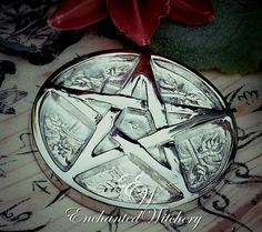 EnchantedWitchery.com - Silver Witches Pentacle Altar Tile, $12.50 (http://www.enchantedwitchery.com/silver-witches-pentacle-altar-tile/)