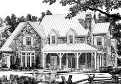 Country Farmhouse Style stone cottage plans: 5,397 sf
