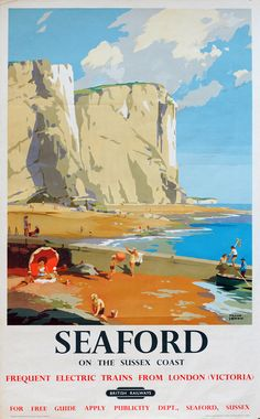 Vintage Railway Travel Poster Seaford Sussex, UK Illustration by Frank Sherwin 1955 Posters Uk, Train Posters, Railway Posters, Illustrations And Posters, Vintage Advertising Posters, Vintage Travel Posters, Vintage Advertisements, British Travel, British Seaside