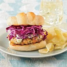 Blackened Grouper Burgers with Red Cabbage Slaw Recipe