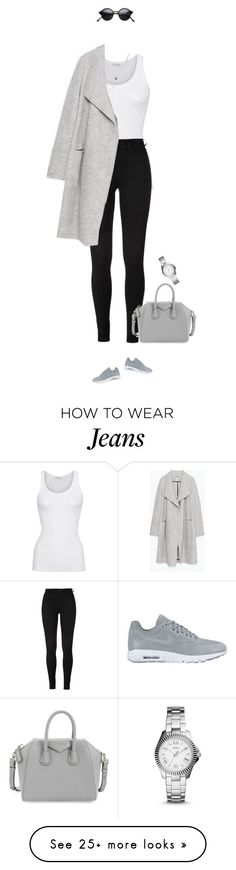 """Grey, white, black !"" by azzra on Polyvore featuring American Vintage, NIKE, Givenchy, Zara, Kenneth Cole, FOSSIL, women's clothing, women, female and woman"