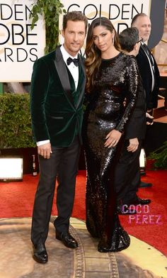 Emerald Green is the Color for the season.. for Man too! Golden Globes 2014: Matthew McConaughey and Camila Alves walk the red carpet!