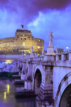 Castel Sant'Angelo and Bridge, Rome, Italy. One of the most beautiful places in Rome. Places Around The World, Oh The Places You'll Go, Places To Travel, Places To Visit, Rome Florence, Belle Villa, Dream Vacations, Italy Travel, European Travel