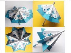 Diy Origami, Origami Paper, Diy Paper, Origami Umbrella, Diy Roofing, Diy And Crafts, Crafts For Kids, Paper Umbrellas, Paper Mache Sculpture
