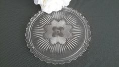 Clear Glass Cake Plate by OurVintageNest on Etsy