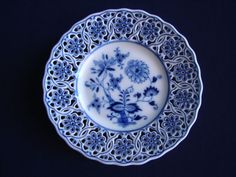 "Meissen Reticulated BLUE ONION 6"" Bread/Cake Plate Pierced Rim - Multiple Avail."