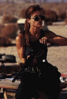 Linda Hamilton, portraying Sarah Connor in T2: Judgment Day. She rocks massively. What a role, what a woman, what a movie!!