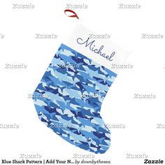 Blue Shark Pattern   Add Your Name Small Christmas Stocking