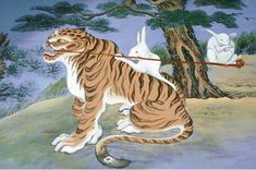 smoking tigers from Korean folklore 🔺🎶🌀🎶More At FOSTERGINGER @ Pinterest  🎶🌀🎶🔺
