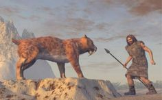 Stone Age man and saber-tooth cat