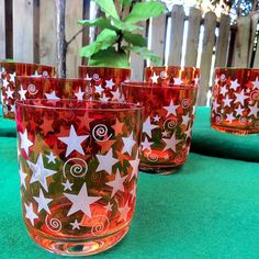 7 Set Reed & Barton Miller Rogaska Crystal Glasses Stars Red Swirls Irridescent in Pottery & Glass, Glass, Glassware | eBay