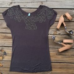 Beaded T-Shirt Dark grey beaded t-shirt. Very well made. Beading on top of front and back. Somewhat fitted. Looks great with skinny jeans. Tops Tees - Short Sleeve