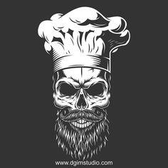 Vector design illustraition of the skull. Koch Tattoo, Body Art Tattoos, Sleeve Tattoos, Cooking Tattoo, Culinary Tattoos, Arte Zombie, Chef Tattoo, Beard Logo, Badge Template