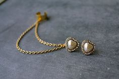 Pearl Crystal Heart Double Gold Chain Ear Cuff by oflovelythings, $10.00