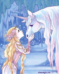 aimeemajor: Unicorn and a maiden! COPIC marker with re-colored pencil lines in Photoshop. Unicorn And Fairies, Unicorn Fantasy, Unicorns And Mermaids, Fantasy Art, Unicorn Painting, Unicorn Drawing, Unicorn Art, Pegasus, Unicorn Images