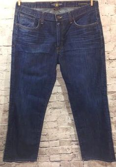 Lucky Brand 361 Vintage Straight Jeans Sz 36 x 30 Distressed Dark Wash 5 Pocket #LuckyBrand #ClassicStraightLeg