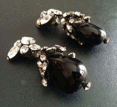 Vtg Signed SCHREINER Mourning Glass Rhinestone Flower Cluster Earrings X137    eBay