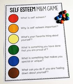 5 Creative School Counseling Activities Using Candy – Confident Counselors Use multi-colored candy to get to know your students, or get them talking about any topics! Social Work Activities, Group Therapy Activities, Self Esteem Activities, Therapy Worksheets, Counseling Activities, Career Counseling, Therapy Ideas, Self Esteem Crafts, Self Esteem Worksheets