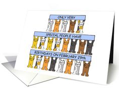 Leap year February 29th birthdays with cats. card by Kate Taylor #anycardimaginable