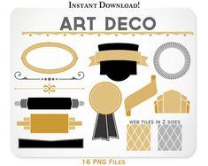Art Deco Clipart Design Elements Web Tiles Blog by KellyJSorenson, $5.00