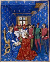 Tribute of Edward III to Philip : Jean Fouquet : Northern Renaissance : history painting - Oil Painting Reproductions Medieval Life, Medieval Art, Medieval Manuscript, Illuminated Manuscript, Philip Iv Of France, Jean Fouquet, Medieval Paintings, Plantagenet, Colors