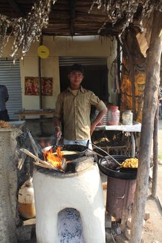 Road side food stall, India.