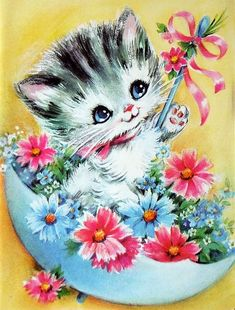 Vintage Birthday Card With Adorable Cat Unused With Envelope Vintage Birthday Cards, Vintage Greeting Cards, Vintage Postcards, Vintage Pictures, Vintage Images, Vintage Clipart, Vintage Illustration, Image Chat, Old Cards