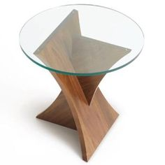 Planes Round Glass Top End Table Geometric Furniture, Unique Furniture, Furniture Decor, Furniture Design, Glass Furniture, Furniture Outlet, Wood Table Design, Coffee Table Design, Old Chairs