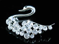 Swan White Gold Austrian Crystal Brooch