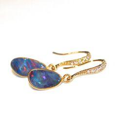 Australian Lightning Ridge Opal Earrings Opal Jewelry October Birthstone Delicate Earrings Minimalist Jewelry Gemstone Jewelry FizzCandy