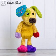 Scrappy the Happy Puppy Amigurumi PDF Crochet by oneandtwocompany