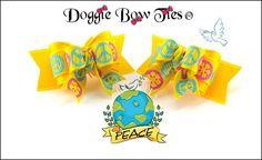 """Marigold Peace"" Tiny Ties Dog Bows by Doggie Bow Ties."