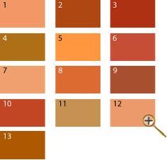 1 оранжево-розовый цвет 2 темно-оранжевый цвет 3 рыжий цвет 4 сиена цвет 5 последний вздох жако 6 медный цвет 7 персиковый цвет 8 золотисто-медный цвет 9 охра красная 10 кирпичный цвет 11 цвет телесный 12 цвет пудры 13 карамельный цвет