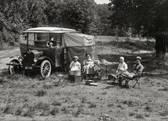 """...hehehe...and we think WE came up with 'glamping'!!!    Auto-Campers: 1920 Washington, D.C., or vicinity circa 1920. """"Dr. A.A. Foster and family of Dallas, Texas, in auto tourist camp."""" A novelty that would evolve into tourist cabins of the 1920s and '30s, the motor courts of the '40s and '50s and culminate in the motor hotel, or """"motel."""" Harris & Ewing glass negative."""