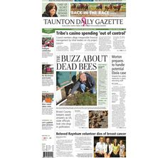 The front page of the Taunton Daily Gazette for Thursday, Oct. 2, 2014.