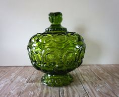 Vintage Green LE Smith Moon and Stars Candy Dish by passedloves