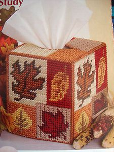 "Plastic Canvas Tissue Box Patterns | Leaf Study Tissue Box Cover"" Plastic Canvas Pattern 
