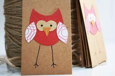 Christmas Gift Tags Handmade Owl Red by LittleBillieBluebird, $4.80