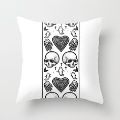 Ghostly Dreams throw pillow: $20  This design is also available as a duvet, print, mug, and much more on my Society 6 webstore, please check it out!  #pillow #design #interiordesign #decoration #decorating #bedroom #interior #inspiration #home #bed #bedding #duvet #bedspread #skull #skulls #ghost #creepy #edgy #grunge #white #illustration #society6